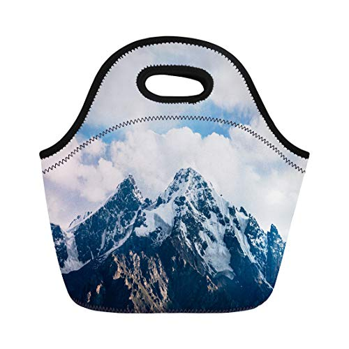Semtomn Neoprene Lunch Tote Bag Cloud Top of Snowy Rock Mountain on Cloudy Air Reusable Cooler Bags Insulated Thermal Picnic Handbag for Travel,School,Outdoors, Work