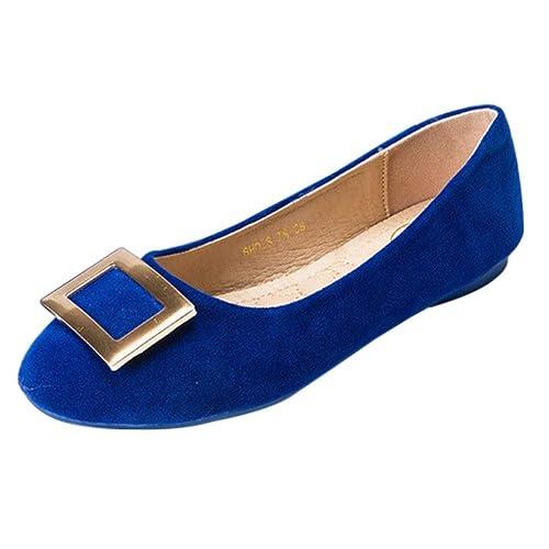 7fa1ec47d6e37 Gtagain Chaussures Ballerines Automne Loafers - Femme Plat Faux Suède Pointe  Ronde Boucle Carrée en Métal