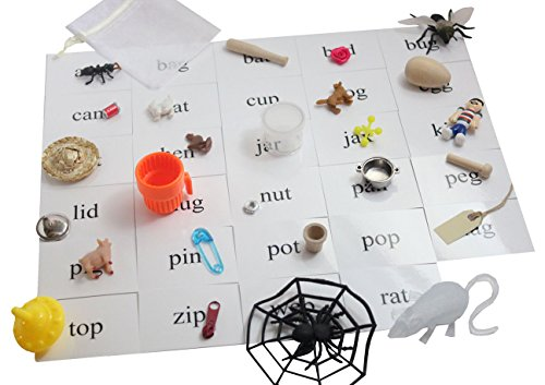 [CVC Alphabet Object Set - FULL SET - CVC Words Alphabet Objects and Cards - Language Tubs Miniatures- Montessori Miniture Objects for CVC] (Animals That Start With The Letter A)