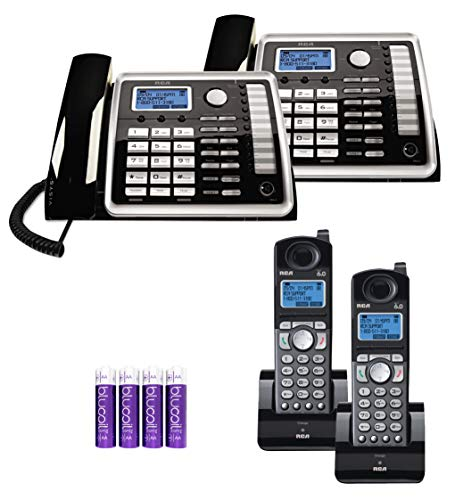 - RCA 25260 2-Line Expandable Phone System - Full Duplex Telephone with Built-in Intercom (2-Pack) Bundle with RCA 25055RE1 DECT 6.0 Cordless Accessory Handsets (2-Pack) and 4 Blucoil AA Batteries