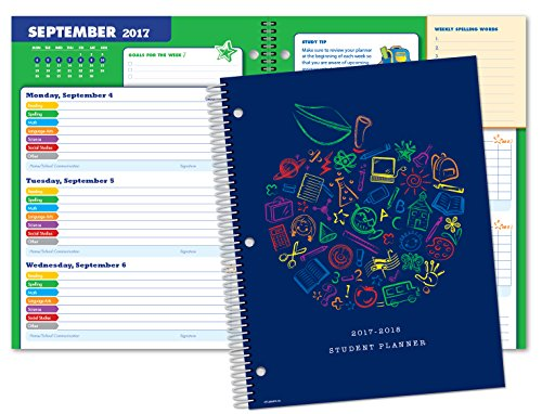 Dated Elementary Student Planner for Academic Year 2017-2018 (Block Style - 8.5'x11')