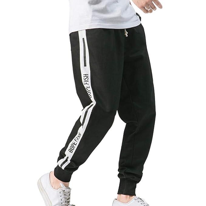 Pantalón Chándal Deportivo Largo para Hombre Suelto Color Sólido Cintura  Elástica Bolsillo Pies Pequeños Pantalón Running Fitness La Moda Pantalones  De ... f2baa36b84cc
