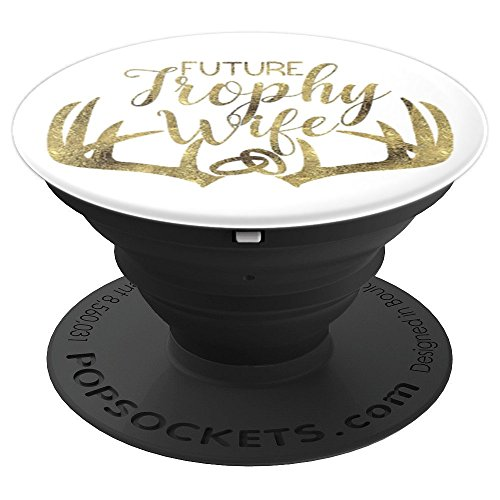 Future Trophy Wife Funny Bride Deer Antlers Bachelorette - PopSockets Grip and Stand for Phones and Tablets