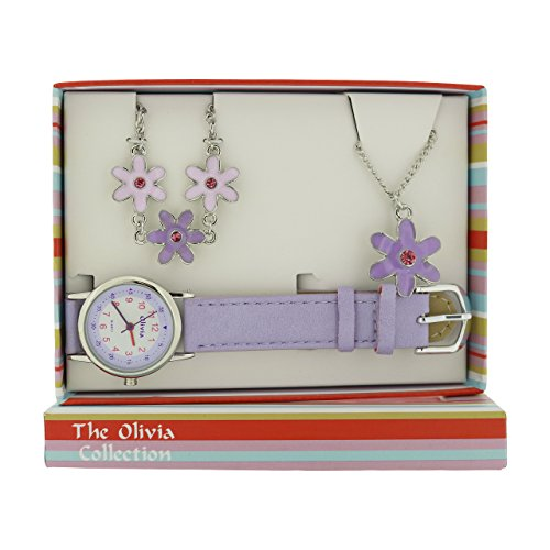 The Olivia Collection Kids Flower Watch & Jewellery Gift Set For Girls KS001