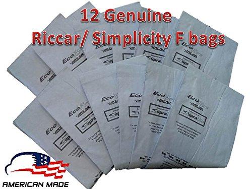 12 Genuine Riccar / Simplicity Type F Ecopure Vacuum Bags (Riccar Supralite Type)