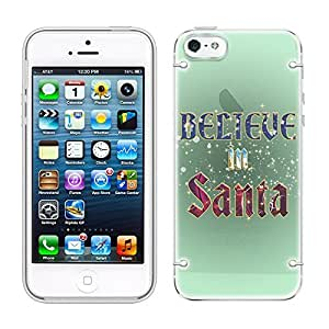 iphone 5 5s Believe in Santa See Through Case with Glow White Trim