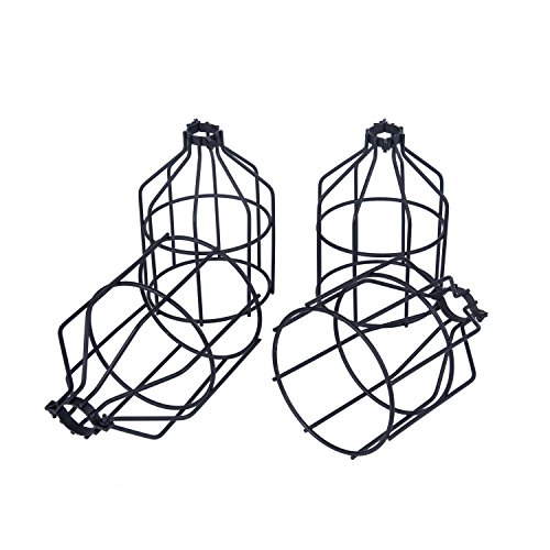Yaqi Lighting 4 Pack Metal Light Bulb Guard Open Style Black