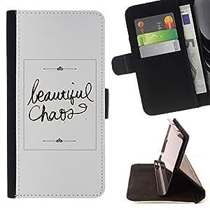For Apple Apple iPhone 4 / iPhone 4S Case , Hermoso Caos Gris Caligrafía texto- la tarjeta de Crédito Slots PU Funda de cuero Monedero caso cubierta de piel