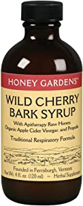 Honey Gardens Wild Cherry Bark Syrup with Apitherapy Raw Honey, Propolis & Wild Crafted Herbs | Traditional Respiratory Formula | 4 fl oz