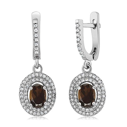 (Gem Stone King 2.32 Ct Oval Brown Smoky Quartz 925 Sterling Silver Earrings)