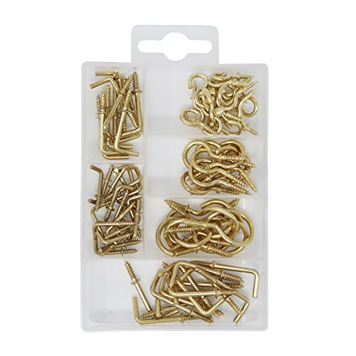 T.K.Excellent Brass Blated Cup Hooks and Square Hooks Kit,85 Pieces