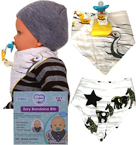 [ChaBabee 2 in 1 Zury Muslin Bandana Baby Bibs with Built-In Essential Holder for Pacifiers, Teethers, Feeders, Rattles, and Other Small Baby Soothing Accessories (2 Pack ,] (Where Does Halloween Come From)
