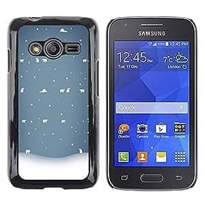Be Good Phone Accessory // Dura Cáscara cubierta Protectora Caso Carcasa Funda de Protección para Samsung Galaxy Ace 4 G313 SM-G313F // Bear Winter Snow White Blue Cold