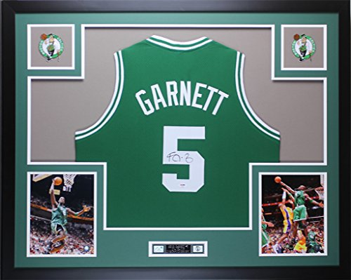 Kevin Garnett Autographed Green Celtics Jersey - Beautifully Matted and Framed - Hand Signed By Kevin Garnett and Certified Authentic by PSA COA - Includes Certificate of Authenticity