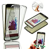 LG G3 Case,Vandot Soft TPU Silicone Crystal Clear Ultra Slim 360 Degree Full Body Front & Back Protective Case Shockproof Anti-Scratch Cover for LG G3-Transparent Black
