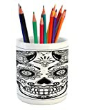 Ambesonne Day of The Dead Pencil Pen Holder, Holiday Sugar Skull Print with Floral Mandala Spanish Folk Artwork, Printed Ceramic Pencil Pen Holder for Desk Office Accessory, Black Pale Grey