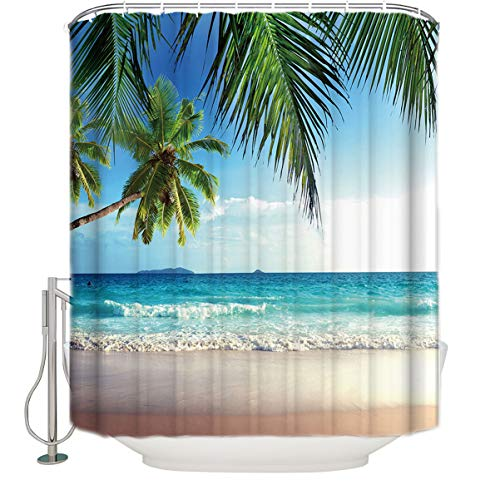 (Anzona Palms Ocean Tropical Beach Theme Waterproof Fabric Bathroom Shower Curtain with Hooks Extra Long 72 x 78 inches)