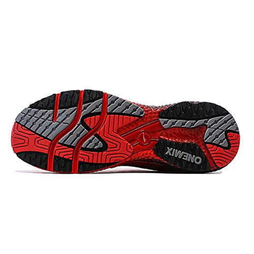Onemix Mens Knit Trail Running Shoes Red/Black
