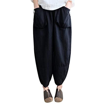 baf4c6f2df Sikye Casual Harem Pants,Womens Loose Ethnic Plus Size Cotton Linen Trousers  with Pockets -