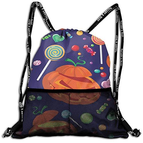 Taslilye Seamless Halloween Candy Vector Image Love Drawstring Backpack Front Zipper Mesh Bag Unisex For Travel Fitness -