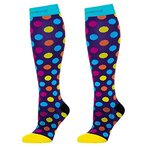 (Compression Socks Men & Women - Solid Colors - Perfect for Nurses, Runners, Athletes, Diabetics, Travelers - 20-30 mmHg Graduated Compression (Urban Dots, Large) )