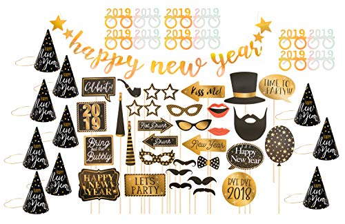New Years Eve Party Decoration Pack - 56-Piece 2019 Countdown Party Supplies Bundle, Includes Party Hats, Party Glasses, Banner, Photo Booth Props, Complete DIY Decor