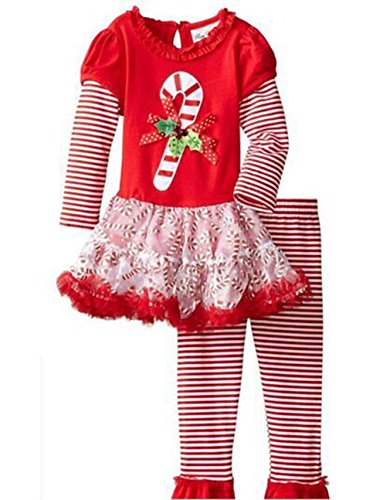 Baby Baby Girls Christmas Candy Cane Dress Top Legging Set100#2-3Years Red (Candy Cane Outfit)
