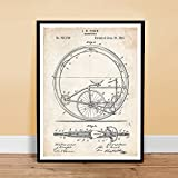 OLD BICYCLE MONOCYCLE UNICYCLE INVENTION 1894 US PATENT ART RETRO POSTER PRINT 18X24 FINCH CIRCUS BIKE GIFT UNFRAMED
