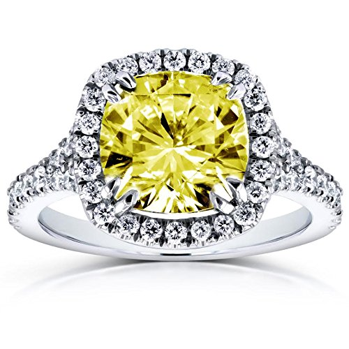 (Fancy Yellow Cushion Moissanite and Diamond Halo Cathedral Ring 3 1/3 CTW 14k White Gold, Size 6.5)