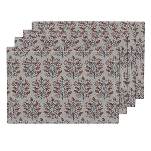 Roostery Brown Autumn Trees Woven 4pc Organic Cotton Sateen Cloth Placemat Set - Woven Branches Pattern Woven Linen Texture Floral Leaf Flower by Holli Zollinger (Set of 4) 13 x 19in