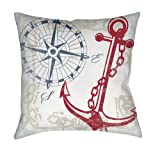 Manual Woodworkers & Weavers Square Throw Pillow, 16-Inch, Anchors Away White