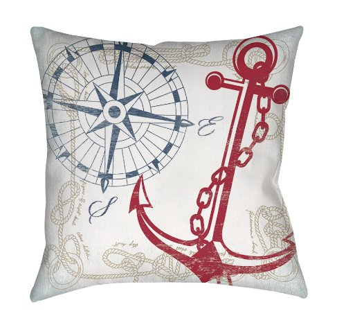 Manual Woodworkers & Weavers Square Throw Pillow, 16-Inch, Anchors Away White - Anchors Away Blue Rug