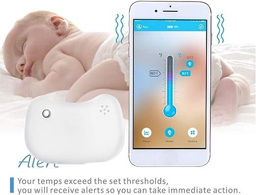 Termómetro para bebé, inalámbrico, Bluetooth, alertas ambientales, monitor inteligente de fiebre, termómetro para bebé, termómetro inteligente para el hogar Tamaño libre blanco: Amazon.es: Hogar