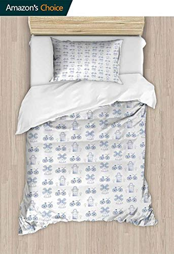 Bicycle Bedspread Set Queen Size, Dutch Ornament Drawings in Blue Windmill Narrow House Bicycle Topiary Tree, Kids Bedding-Does Not Shrink or Wrinkle,39 W x 51 L Inches, White Night Blue (Globe Topiary)