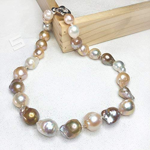 Large Baroque Cultured Pearls Necklace, 15-25MM Natural Multi-color Kasumi Like Pearls And Sterling Silver Toggle Statement Necklace Cultured Freshwater Pearl Toggle Necklace