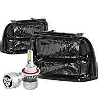For Ford Super Duty 1st Gen OE Style Smoked Lens Clear Corner Headlight + H13 LED Conversion Kit W/Fan