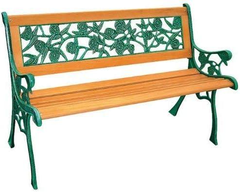 Banco de jardín de madera dura y hierro fundido, diseño de rosas: Amazon.es: Jardín