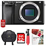 Sony Alpha a6000 24.3MP Interchangeable Lens Camera ILCE6000/B-(Body) w/32GB Deluxe Bundle Includes, Carrying Case, 12 Spider Tripod, 32GB Card, Paint Shop Pro X9 & 1 Year Extended Warranty