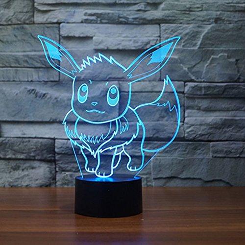 Pokemon Go Eevee 3D Night Light 7 Color Change LED Desk Lamp Touch Button Room Decor]()