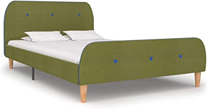 vidaXL Cama Individual Estructura Hierro + Somier Láminas + Cabecero + Pie Tapizada Tela para Colchón 120x200 cm No Incluido MDF Patas Madera Verde