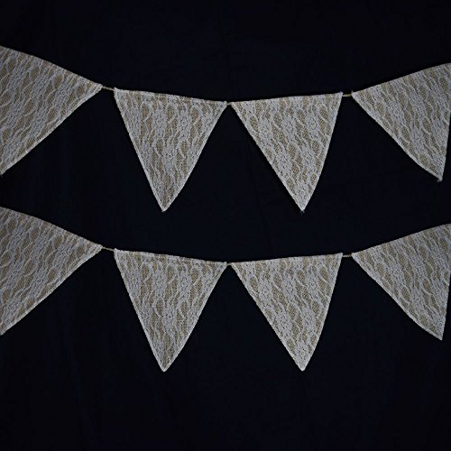 Quasimoon PaperLanternStore.com Burlap and Lace Triangle Flag Pennant Banner (12 Ft)