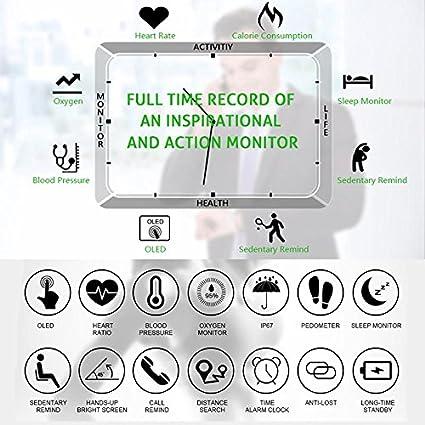 ... Tensiometro+ Oxígeno Oxímetro Monitor, Monitor de Dormir, Podómetro, Monitor de Calorías, IP67 Impermeable Pulsera Inteligente Para Android y IOS: ...