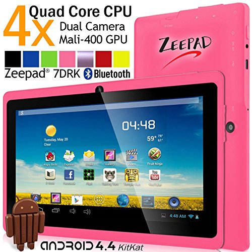 7inch Zeepad Android 4.4 KitKat Quad Core HD Screen Dual Camera Bluetooth WiFi Tablet PC (Pink)