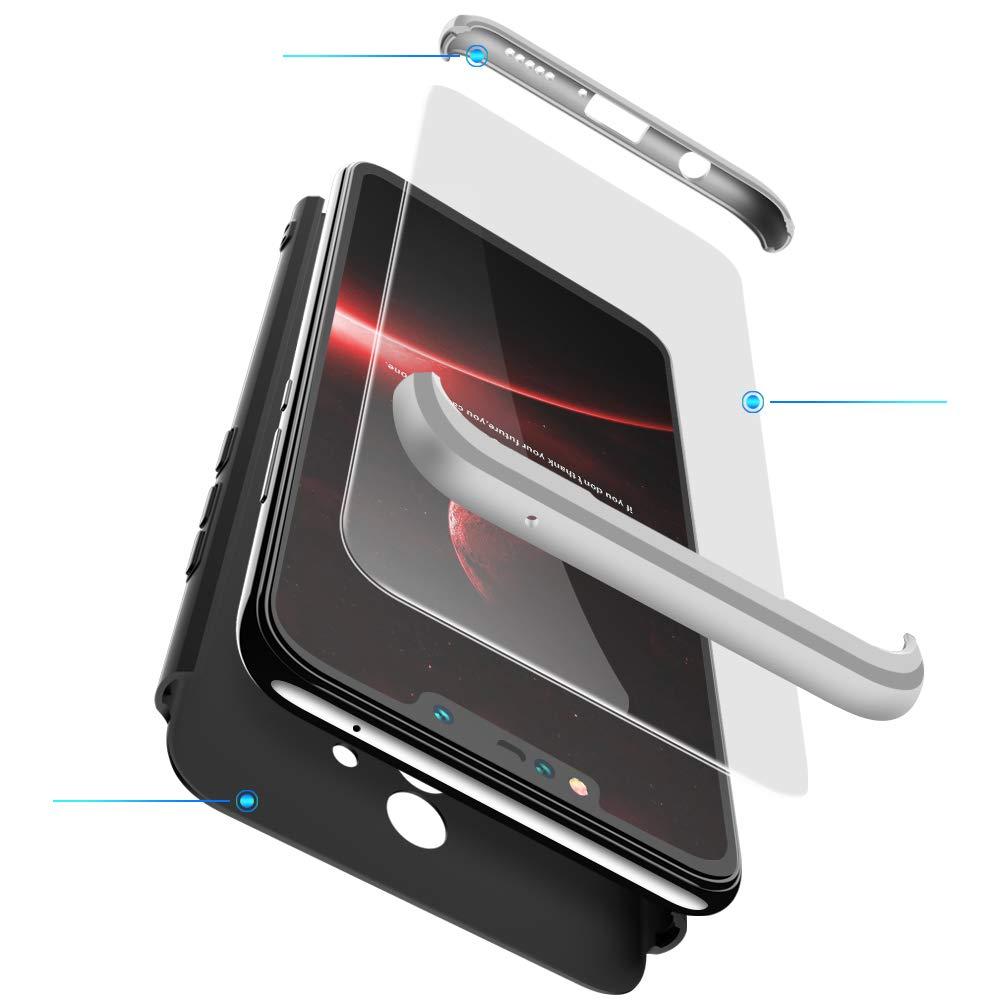 2ndSpring Huawei Mate 20 Liteケース、Mate 20 Liteカバー3in1 360度フルボディプラスチックハードスキン耐衝撃シェル強化ガラススクリーンプロテクターHuawei Mate 20 Liteシルバーブラック   B07HWLX5S5