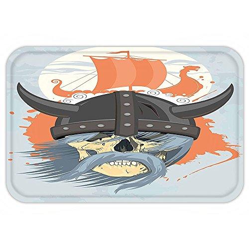 Blade Dot Helmet (VROSELV Custom Door MatViking Cartoon Ghost Skull Nordic War Combat Norse Medieval Helmet with HornDragon Head Ship Decor Orange Grey)