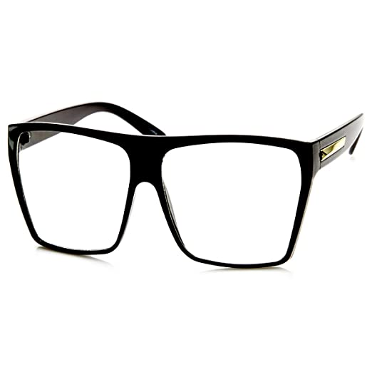 amazoncom large oversized retro fashion clear lens square glasses black clothing