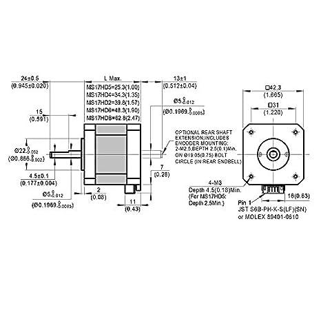 Moons NEMA17 - Motor paso a paso para impresora 3D de 0,63 Nm (89 ...