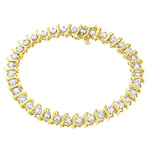 10KT Yellow Gold Round Cut S-Link Diamond Bracelet (5.00 cttw, I-J Color, I2-I3 Clarity)
