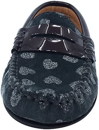 Atlanta Mocassin Girls Suede and Patent Heart Print Penny Loafers
