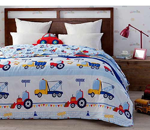Brandream Blue Kids Bedding Trucks Printed Boys Car Quilt Comforter Throw Blanket Super Soft Cotton Quilts